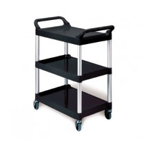 Rubbermaid 342488BLA Utility Cart with 3 Shelves