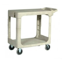 Rubbermaid 450500BEIG Flat Shelf Utility Cart with Two Shelves