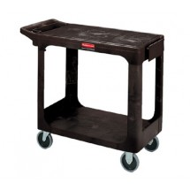 Rubbermaid 450500BLA Flat Shelf Utility Cart with Two Shelves