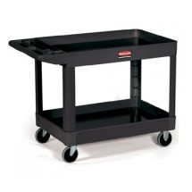 Rubbermaid 452088BLA Utility Cart with Two Shelves