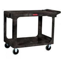 Rubbermaid 452500BLA Flat Shelf Utility Cart with Two Shelves
