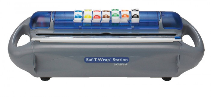 San Jamar SW1218SC Saf-T-Wrap Film, Foil And Date Label Dispenser With Slide Cutter