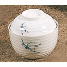 Thunder Group  3502BB 9 oz Blue Bamboo Design Miso Bowl With Lid