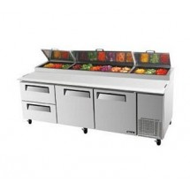 Turbo Air TPR-93SD-D2 Three-Section Super Deluxe Pizza Prep Table