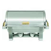 Update International RTC-8 8 Qt. Roll-Top Chafer with Brass Handle