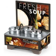Vollrath 720201102 Full Size Soup Warmer Merchandiser with Menu Board & 4 Qt Accessories