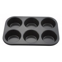 Winco AMF-6NS 6 Cup Tin Plate Non-Stick Muffin Pan