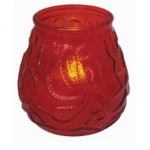 Winco CLG-3R Glass Candle Holder with Tealight-Red