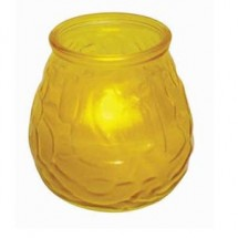 Winco CLG-3Y Glass Candle Holder with Tealight-Yellow