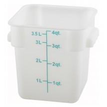 Winco PESC-4 White Square 4 Qt. Storage Container