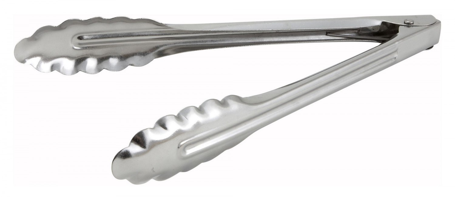 "Winco UT-9LT Stainless 9"" Medium Weight Utility Tong"